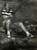 Barbara Bel-Geddes on Fishing Photo by  Movie Star News