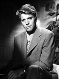 Burt Lancaster Posed in Textured Suit and Printed Necktie Photo by  Movie Star News