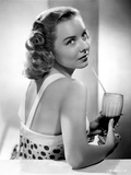 Diana Lynn Drinking in White Dotted Dress Photo by  Movie Star News