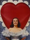 Deanna Durbin smiling in Lace Gown Heart Background Photo by  Movie Star News