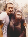 Clint Eastwood in White Shirt with Monkey Photo by  Movie Star News