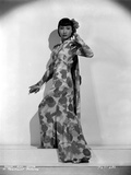 Anna Wong wearing a Long Chinese Floral Dress Photo by  Movie Star News