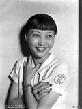 Anna Wong wearing a White Polo Shirt Photo by  Movie Star News