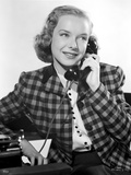 Diana Lynn on a Printed Blazer on Phone Photo by  Movie Star News