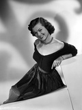 Barbara Hale on an Off-Shoulder Dress in Black and White Portrait Photo by  Movie Star News
