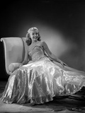 Gloria DeHaven Leaning On A Couch in Gown in Black and White Photo by  Movie Star News