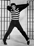 Elvis Presley Jumping in Stripes Shirt Photo by  Movie Star News