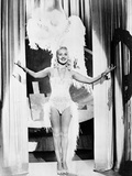 Betty Grable Posed with Hands Raised Up in Fur Headdress in White Sexy Strap Dress with Fur Bottoms Photo by  Movie Star News