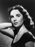 Elizabeth Taylor Looking Up in Black and White with Necklace Photo by  Movie Star News