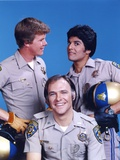 Chips Cast Posed Together in Police Uniform with Helmets Photo by  Movie Star News
