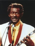Chuck Berry Playing Guitar in White Tuxedo Photo by  Movie Star News