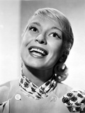 Carol Channing in a Printed Dress Looking Up and smiling Photo by  Movie Star News