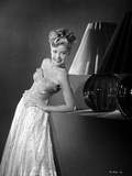 Gloria DeHaven Leaning On A Table in Gown in Black and White Photo by  Movie Star News