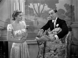 Damsel In Distress with Joan Fontaine wearing Dress in Black and White Photo by  Movie Star News