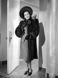 Frances Dee posed in Black Coat in Black and White Photo by  Movie Star News
