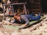 Chris Farley Lying wearing Blue Jacket Photo by  Movie Star News
