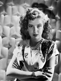 Gloria DeHaven Curly Hair, Red lipstick Posed in White Gown Photo by  Movie Star News