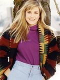Cynthia Geary in a Knitted Coat smiling Portrait Photo by  Movie Star News