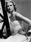 Grace Kelly Curly Hair Hands on Waist wearing White Gown Photo by  Movie Star News