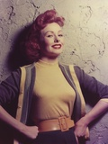 Jeanne Grain Posed in Yellow Blouse with Coat Photo by  Movie Star News