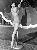 Esther Williams Holding an Umbrella in Black and White Photo by  Movie Star News