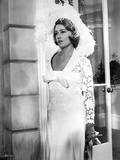 Jeanne Moreau Posed in White V-Neck Sheer Sleeve Lace Silk Dress and Feather Hat Photo by  Movie Star News