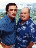 Jake & The Fatman Fatman in Printed Blue Collar Shirt and Jake in Blue Velvet Collar Shirt Photo af Movie Star News
