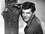 Frankie Avalon Writing on Tree With Pen Photo by  Movie Star News