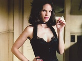 Hilary Swank Posed in Black Dress while Smoking Cigarette Portrait Photo by  Movie Star News