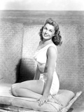 Esther Williams sitting with a Smile in Black and White Photo by  Movie Star News
