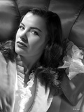 Ella Raines Lying in Black and White with Robe Photo by  Movie Star News