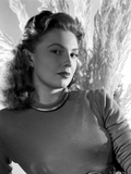 Joan Leslie on Long Sleeve Top posed and Leaning Photo by  Movie Star News