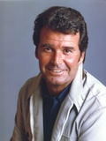 James Garner Portrait in White Linen Track Suit and Blue Collar Shirt on Dark Grey Background Photo by  Movie Star News