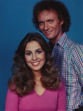 Genie Francis in Blue Background Couple Portrait Photo by  Movie Star News
