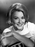 Hope Lange Leaning on a Printed Couch with Short Hair Photo by  Movie Star News