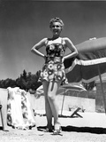 Eva Gabor on a Printed Dress with Hands on Waist Photo by  Movie Star News