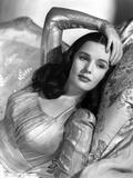 Frances Farmer on a Silk Long Sleeve Dress and Lying Portrait Photo by  Movie Star News