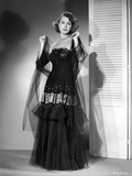 Frances Dee posed in Black Gown in Black and White Photo by  Movie Star News