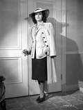 Frances Dee posed in Formal Outfit and Coat in Black and White Photo by  Movie Star News