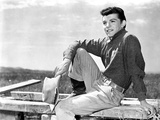Frankie Avalon sitting on Wood With Holding Hat Photo by  Movie Star News