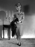 Gloria DeHaven Posed Siting on Black Gown Photo by  Movie Star News