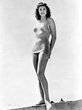 Esther Williams standing with Bikini in Black and White Photo by  Movie Star News