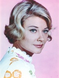Hope Lange in Printed Blouse on Pink Background Photo by  Movie Star News