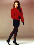 Emma Samms in Red Coat and Black Mini Skirt Photo by  Movie Star News