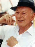 John Gielgud wearing a White Long Sleeves and a Hat in a Portrait Photo by  Movie Star News