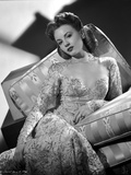 Janet Blair on Embroidered Dress sitting Photo by  Movie Star News