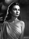 Jean Simmons Portrait in White One Shoulder Draped Silk Dress Foto af  Movie Star News