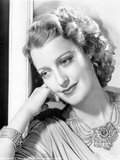 Jeanette MacDonald Portrait in Grey Long Sleeve Drape Silk Dress and Elaborate Necklace with Head L Photo by  Movie Star News