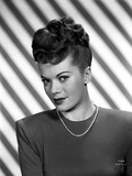 Janis Paige on a Stripe Background Portrait Photo by  Movie Star News