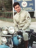 John Stamos Posed in Motorcycle Portrait Photo by  Movie Star News